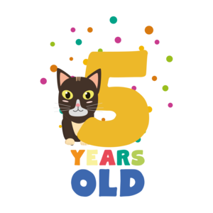 Five Years Fifth Birthday Party Cat