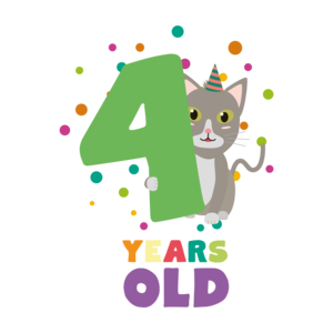 Four Years Fourth Birthday Party Cat
