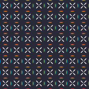 Colorful Geometric Floral Pattern On Black