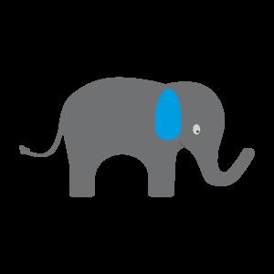 Cute Elephant With Blue Ears