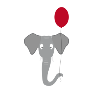 Elephant Head With Red Balloon 2