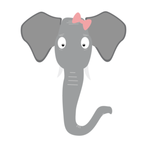 Elephant Head With Pink Ribbon