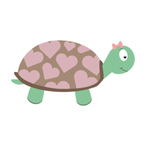 Cute Turtle With Hearts And Pink Ribbon