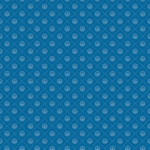 Anchor Seamless Pattern On Blue