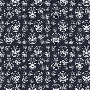 Skull Seamless Pattern On Black