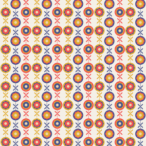 Abstract Multicolor Vintage Flower Pattern
