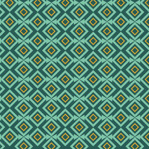 Geometric Turquoise Yellow Square Triangle Pattern