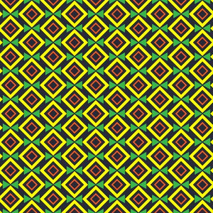 Geometric Green Yellow Square Triangle Pattern