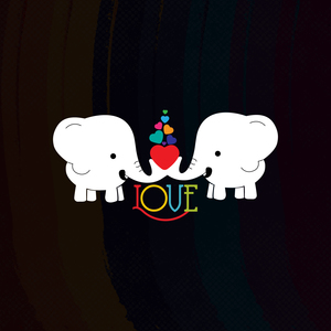 White Elephant With Heart And Love