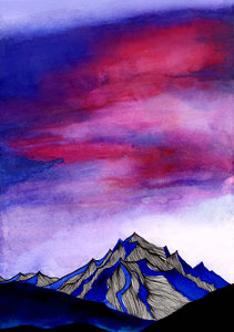 Hand Painted Water Color Mountains