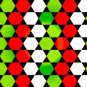 Red Green White Hexagonal Blocks Pattern