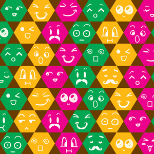 Different Emoticons In Multicolored Hexagons