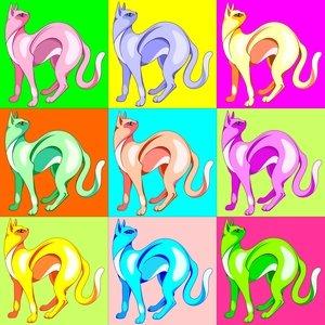Cat Pop Art Rainbow Colors