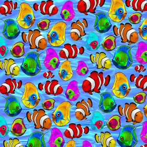 Tropical Fishes Cartoon Pattern