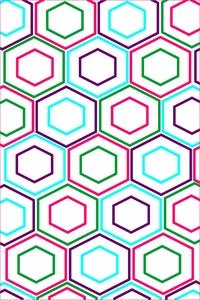 Multicolor Hexagon Pattern On White