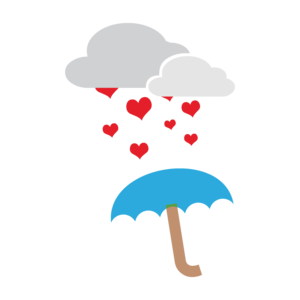 Umbrella With Hearts On Black