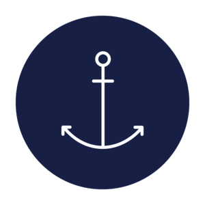 Anchor In Blue Circle On White