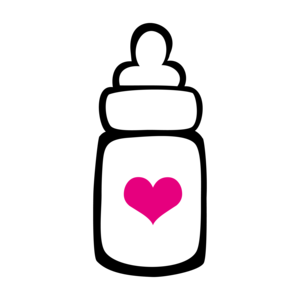 Milk Bottle With Heart On Pink