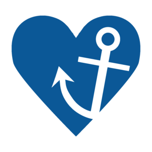 Anchor With Blue Heart On White