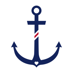 Anchor With Stripes On Red