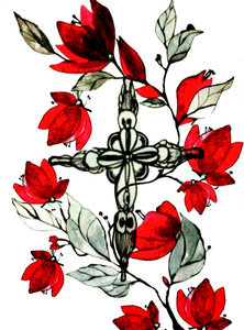 Red Flowers And Cross