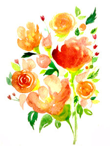 Orange Watercolour Flowers