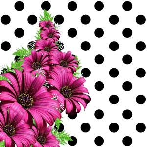 Flowers On Black Polka