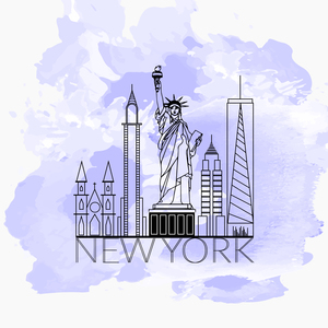 New York Line Art On Watercolors