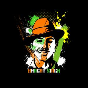 Bhagat Singh Painting On Black