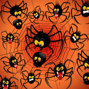 Spiders Cartoon With Halloween Black Skull