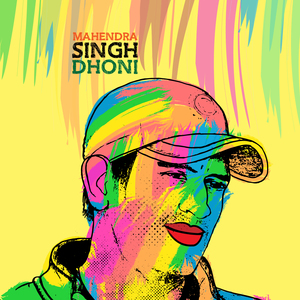 Mahendra Singh Dhoni Painting In Multicolor