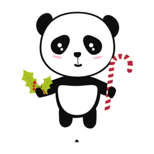 Christmas Panda With Candy Cane