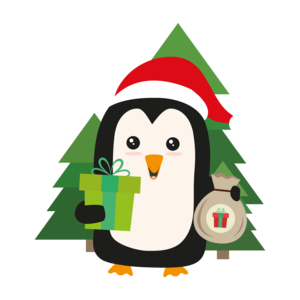 Penguin Santa With Christmastree