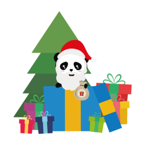 Panda Santa With Christmas Tree