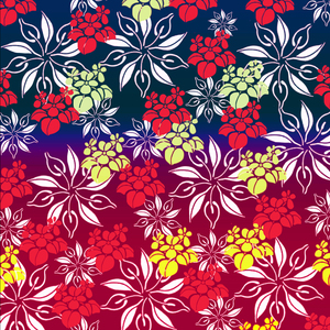 Floral Design On Red Blue