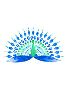 Blue And Green Mandala Peacock