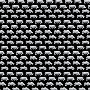 Rhinoceros Pattern On Black