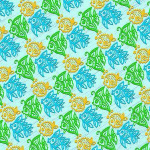 Fish African Batik Style Pattern