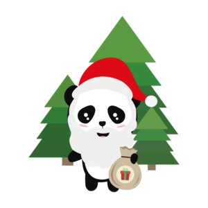 Santa Panda In Forest With Presents
