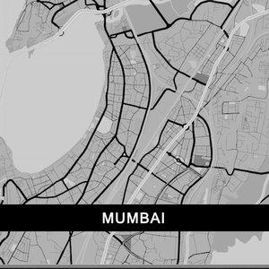 Mumbai Map In Grey