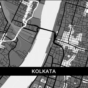 Kolkata Map In Grey