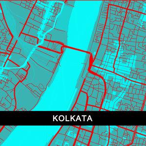 Kolkata Map In Blue