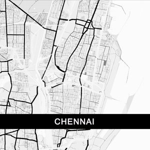 Chennai Map In Black And White