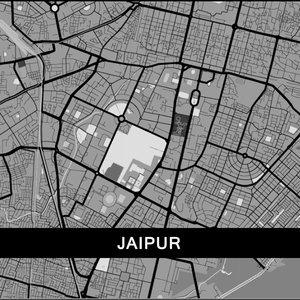 Jaipur Map In Grey