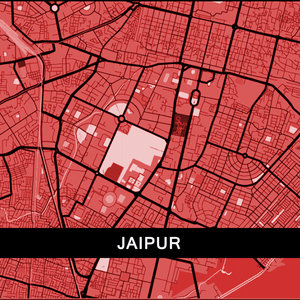 Jaipur Map In Red