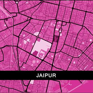 Jaipur Map In Pink